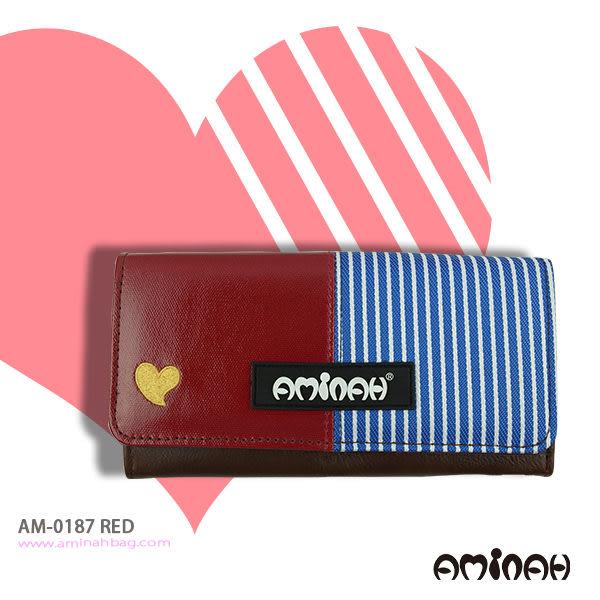 鏡面愛心條紋 長夾 / 皮夾 / 手拿包 紅色 AMINAH~【am-0187】