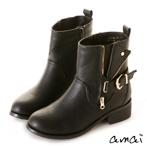 amai復古刷色皮帶裝飾彈性中筒靴 黑