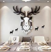 個性鹿頭時鐘掛鐘客廳創意現代大氣時尚裝飾鐘錶餐廳潮流靜音掛錶igo 依凡卡時尚