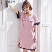 短袖寬鬆睡衣女家居服甜美可愛 全館8折