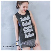 Catworld FREE英文字透氣網眼運動背心【11601642】‧S/M/L/XL