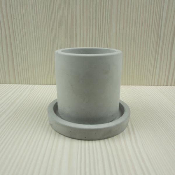 (BEAGLE)雙色 圓型創意水泥盆栽+托盤 多肉水泥花器/仙人掌水泥花盆/水泥植栽/水泥盆器