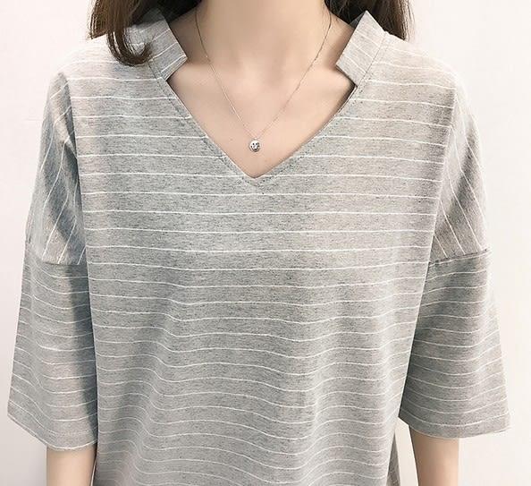 EASON SHOP(GU5066)條紋拼接V領立領落肩七分袖短袖T恤露背內搭衫女上衣服白棉T春夏裝韓版寬鬆純棉