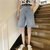 現貨 女裝寬鬆百搭口袋撞色牛仔中褲 五分褲 褲子