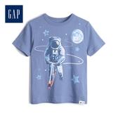 Gap男幼童 創意印花圓領短袖T恤570220-灰藍色