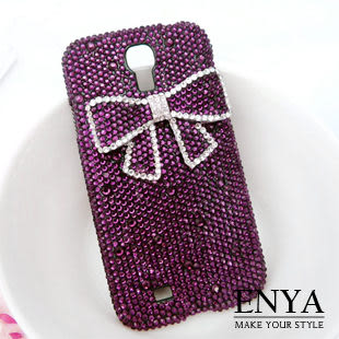 Samsung S4 紫色蝴蝶結 華麗貼鑽手機殼 Enya恩雅
