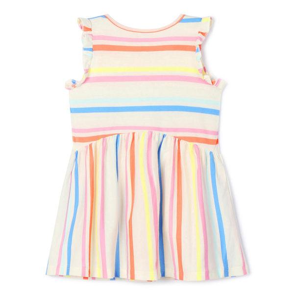 Gap女嬰幼童 童趣印花小飛袖套頭無袖上衣 461341-炫彩條紋
