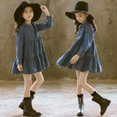女童牛仔裙連身裙秋裝童裝韓版洋氣長袖藍色公主裙【奈良優品】