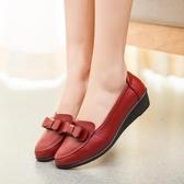 秋季舒適軟底媽媽鞋厚底楔形鞋中老年尖頭單鞋皮鞋一腳蹬懶人女鞋 【八折搶購】