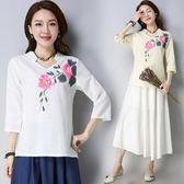 夏新款民國風女裝復古中式茶人服七分袖日常漢服 LQ4823『科炫3C』