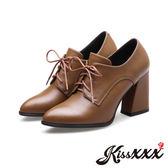 美腿效果時尚小尖頭綁帶異形跟踝靴 棕 *KissXXX*