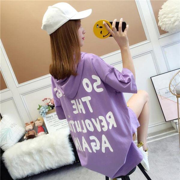 新款韓版寬鬆連帽短袖T恤女中長款上衣服