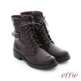 effie 個性美型 防潑水麂皮扣帶綁帶中筒靴 灰
