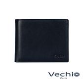 【VECHIO】紳士商務款II-經典素面皮革3卡皮夾(午夜藍)VE038W01BL