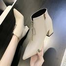 尖頭短靴女春秋2021新款韓版切爾西靴女裸靴高跟粗跟英倫風馬丁靴一米陽光