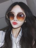 韓版墨鏡女 潮 防紫外線長臉顯瘦復古大圓形眼鏡 太陽鏡 花樣年華