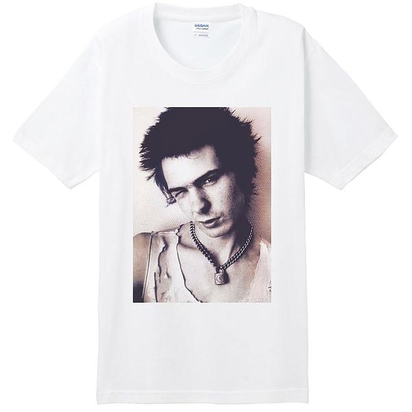 Sid Vicious-Face短袖T恤-白色 席德性手槍人物街頭相片照片英國punk rock gildan