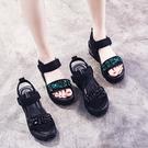 坡跟涼鞋女2021年夏季新款百搭網紅水鉆仙女風羅馬厚底松糕ins潮【快速出貨】