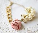 玫瑰緞帶珍珠手鍊  情人節禮物【Vogues唯格思】C028