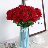 現代簡約陶瓷插花仿真玫瑰花束假家居裝飾擺件 QW5867『夢幻家居』