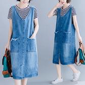 XL-5XL大碼牛仔背心裙~6951# 復古牛仔連身裙 V領前開叉大碼BMA132A莎菲娜