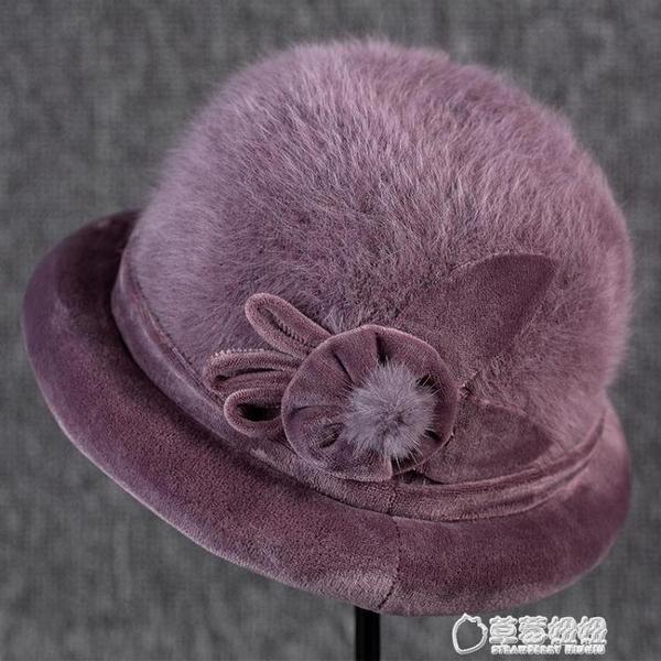 毛帽-冬天老人兔毛帽子女士媽媽加厚加絨禮帽盆帽中老年人冬季針織毛線 草莓妞妞