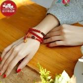鳳凰涅磐手鍊女水晶紅瑪瑙手串古風流行飾品首飾編織本命年禮物女