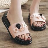 女時尚女士一字拖平底花朵沙灘鞋外穿高跟厚底涼夏季女鞋 【ifashion·全店免運】