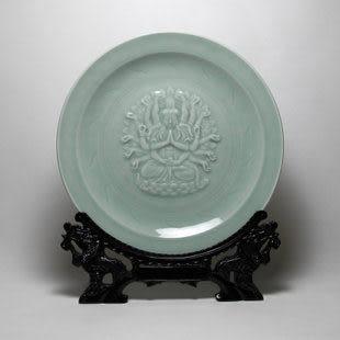 龍泉青瓷梅子青掛盤