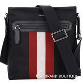 BALLY Currios 經典織帶厚磅帆布斜背包(黑色) 1820586-01