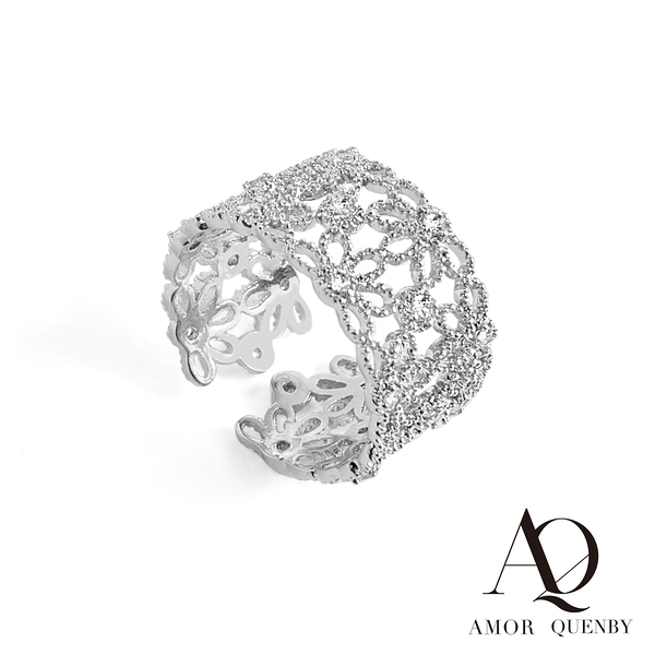 AQ 淡復古風品味鏤空滿鑽開口戒指(AMOR Quenby)