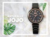 【時間道】NATURALLY JOJO  俏麗小花面盤腕錶 / 黑面玫瑰金刻黑陶(JO96901-88R)免運費