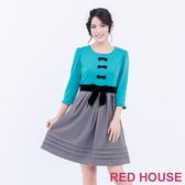 【RED HOUSE 蕾赫斯】蝴蝶結拼色洋裝(湖水綠)