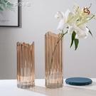 花瓶北歐創意不規則漸變玻璃花瓶客廳插花干花輕奢裝飾小擺件花盆水培YYS 快速出貨