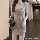2021蹦迪女裝性感黑色抹胸網紗吊帶裙內搭春秋褶皺打底緊身洋裝 蘿莉新品