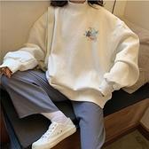 長袖上衣 oversize半高領衛衣女秋冬2021年新款韓版寬鬆加絨加厚ins上衣潮 童趣屋 交換禮物