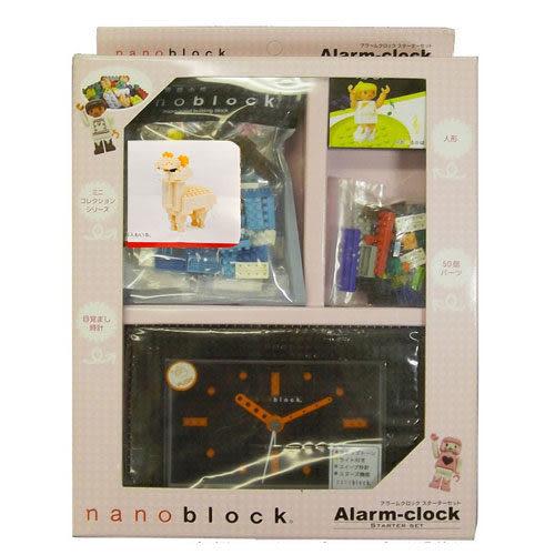 【日本KAWADA河田】Nanoblock迷你積木-積木鬧鐘+羊駝套組(黑色) NAAC-96902BK