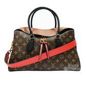 【Louis Vuitton 路易威登】M41456 經典Tuileries系列Monogram帆布和三色牛皮混搭手提/肩背包