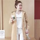 風衣 女中長款小個子2019初秋季新款韓版時尚收腰寬鬆顯瘦外套大衣 2色S-2XL