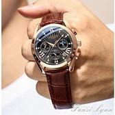多功能夜光防水男士手錶學生韓版潮流運動皮帶石英錶 范思蓮恩
