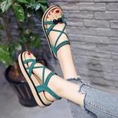 涼鞋女仙女風年新款夏季網紅學生百搭厚底ins潮夏天平底鞋子 極有家