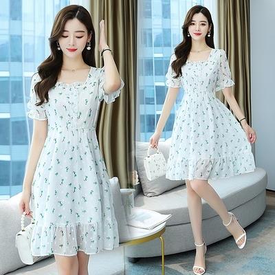 大碼洋裝連身裙9323雪紡提花數碼印花修身水晶扣短袖連身裙1F-A008 胖妹大碼女裝