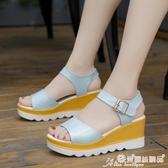 坡跟涼鞋 夏季新款高跟涼鞋女學生韓版粗跟厚底鬆糕平底學生坡跟魚嘴女鞋子 愛麗絲