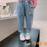 兒童長褲寬鬆牛仔褲韓版長褲女童洋氣褲子卡通【淘嘟嘟】
