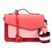 Botkier Cobble Hill拼接撞色防刮皮革手提斜背二用風琴包(粉紅/珊瑚紅)260005-22