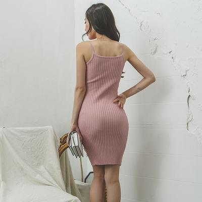 OL洋裝S-XL8811#夏韓版新款性感修身綁帶針織連身裙女吊帶包臀短裙H538快時尚