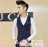 西裝馬甲男夏季薄款商務馬夾背心工作服修身西服坎肩黑色薄款馬甲 韓國時尚週