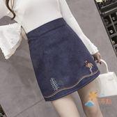 短裙春夏新款半身裙短裙a字裙女冬復古加大尺碼高腰包臀一步裙子刺繡萊爾福免運
