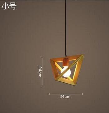 美術燈 複古美式臥室客廳歐式創意個性餐廳燈三角形木頭框吊燈(小號)    -不含光源