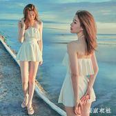 泳衣  保守泳衣女小清新學生裙式白色仙修身顯瘦遮肚 QQ5291『東京衣社』